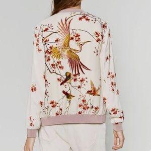 Floral Bird Print Bomber Jacket